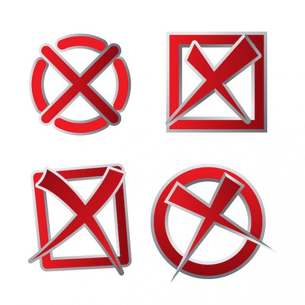 Jeu d'icônes de case à cocher rouge décliné Vecteur Premium