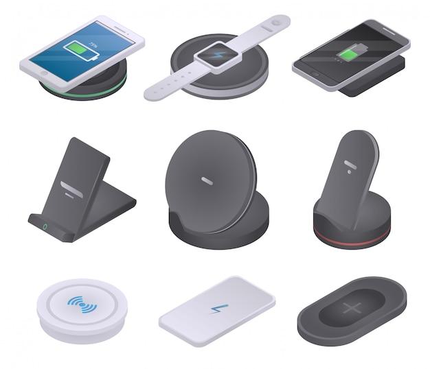 Jeu d'icônes de chargeur sans fil, style isométrique Vecteur Premium