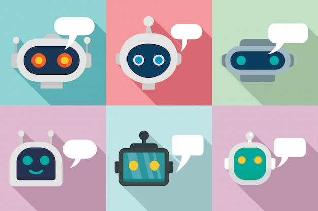 Jeu d'icônes chatbot, style plat Vecteur Premium