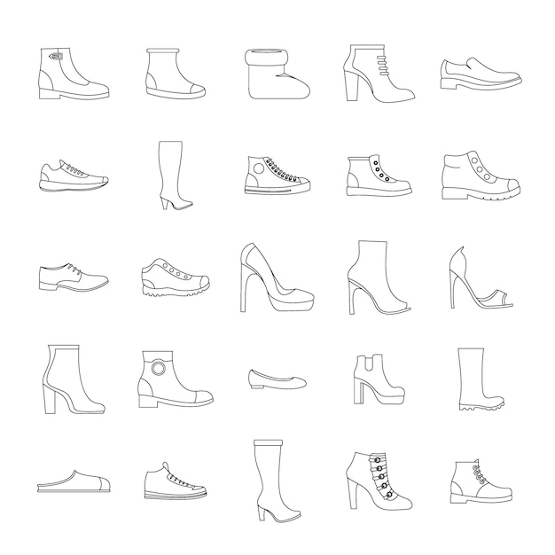 Jeu d'icônes de chaussures chaussures Vecteur Premium