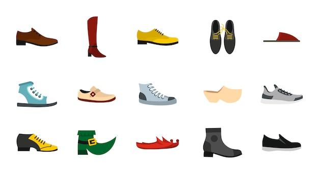 Jeu d'icônes de chaussures. ensemble plat de chaussures icônes vectorielles collection isolée Vecteur Premium