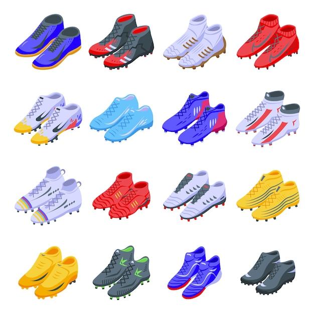 Jeu D'icônes De Chaussures De Football. Vecteur Premium