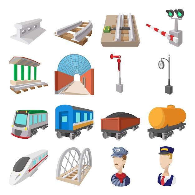 Jeu d'icônes de chemin de fer isolé Vecteur Premium