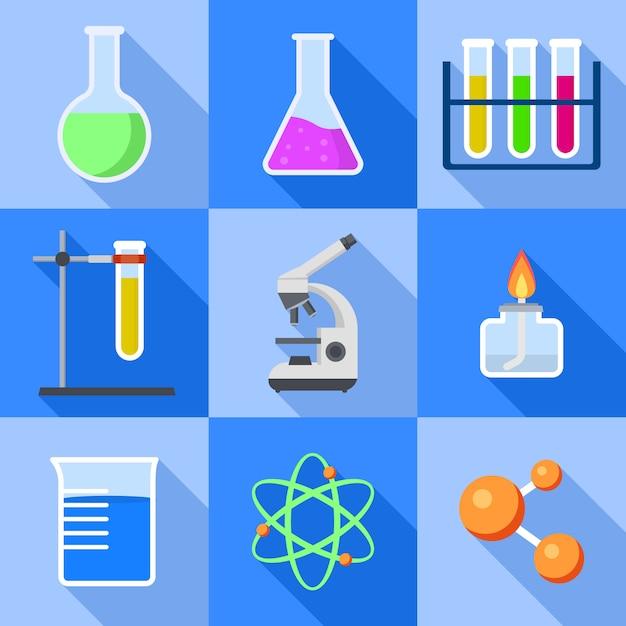 Jeu d'icônes de chimie. ensemble plat d'icônes de chimie pour la conception web Vecteur Premium