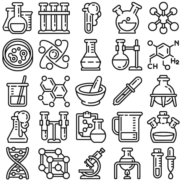 Jeu d'icônes de chimie, style de contour Vecteur Premium
