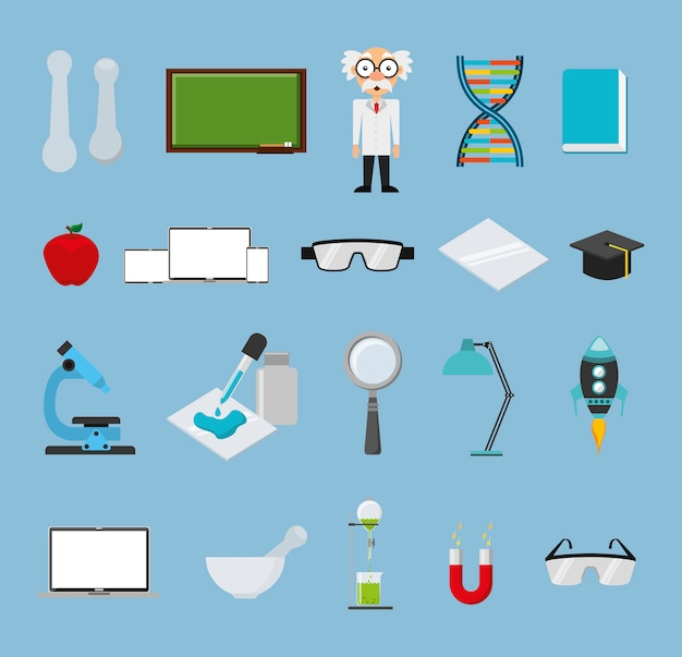 Jeu d'icônes de chimie Vecteur gratuit