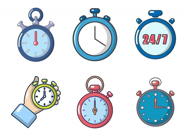 Jeu d'icônes de chronomètre. jeu de dessin animé de jeu d'icônes vectorielles chronomètre isolé Vecteur Premium
