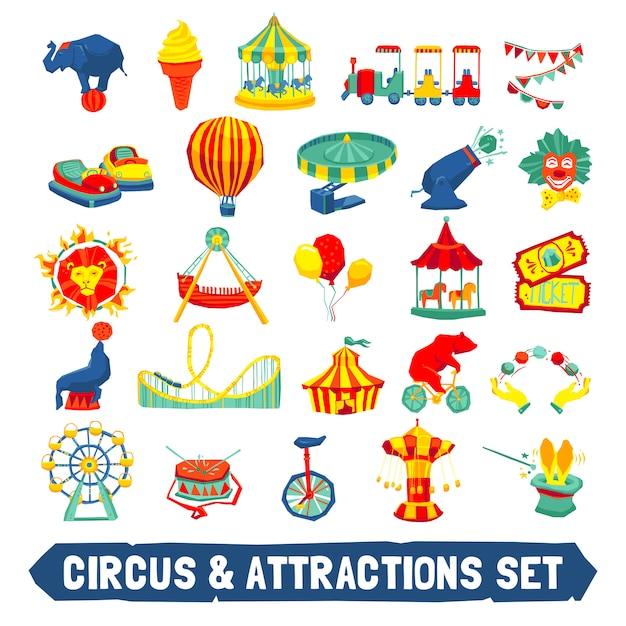 Jeu d'icônes de cirque Vecteur Premium