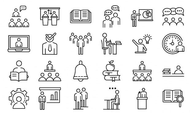 Jeu d'icônes de classe de lecture, style de contour Vecteur Premium