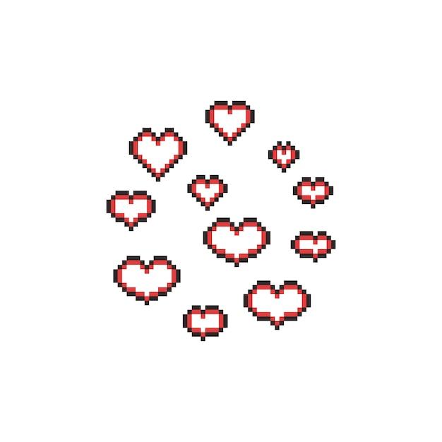 Jeu Dicônes De Coeur Pixel Art Dessin Animé Télécharger