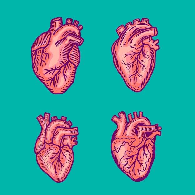 Jeu d'icônes coeur rouge Vecteur Premium