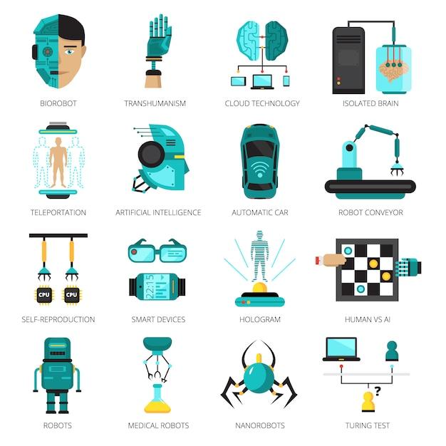 Jeu d'icônes colorées d'intelligence artificielle Vecteur gratuit
