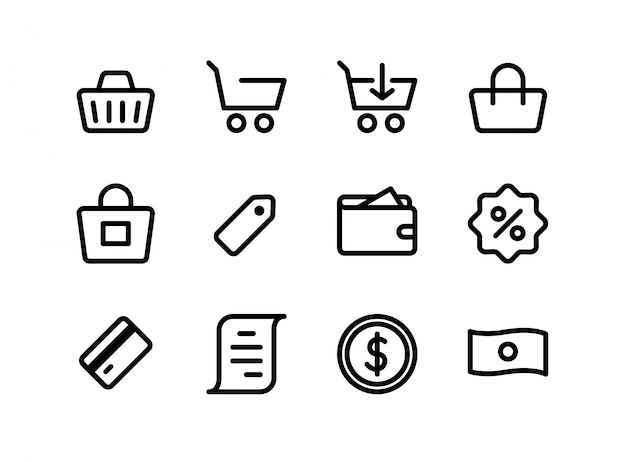 Jeu D'icônes De Commerce électronique Et De Shopping Vecteur Premium