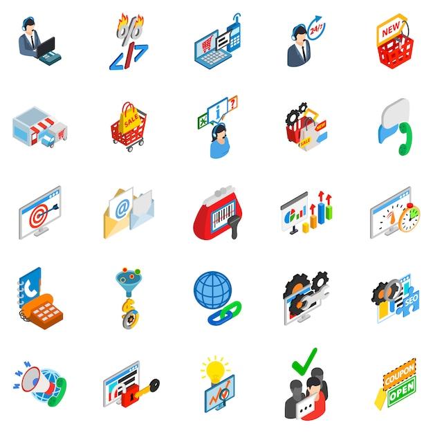 Jeu d'icônes de commerce en ligne Vecteur Premium