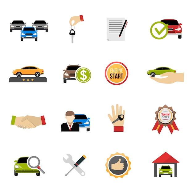 Jeu d'icônes de concessionnaire automobile Vecteur gratuit