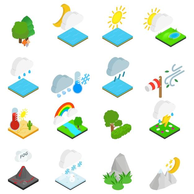 Jeu d'icônes de conditions météorologiques Vecteur Premium