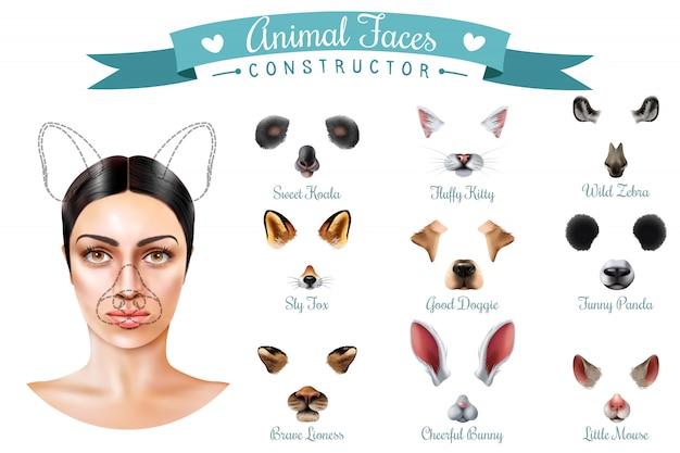 Jeu D'icônes De Constructeur De Visages D'animaux Mignons Vecteur gratuit