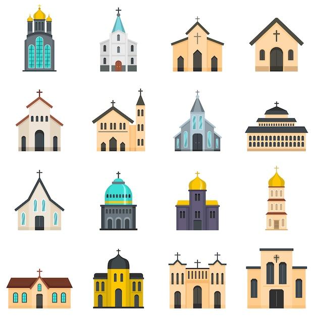 Jeu d'icônes de construction d'église Vecteur Premium