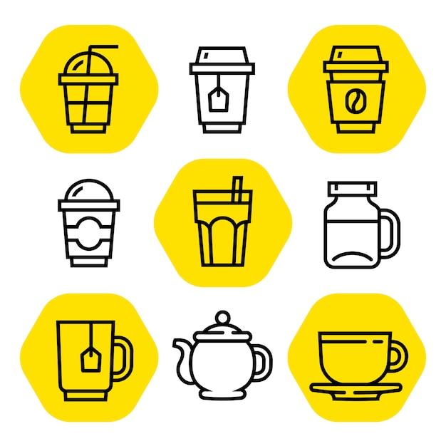 Jeu d'icônes de contour café et thé Vecteur Premium