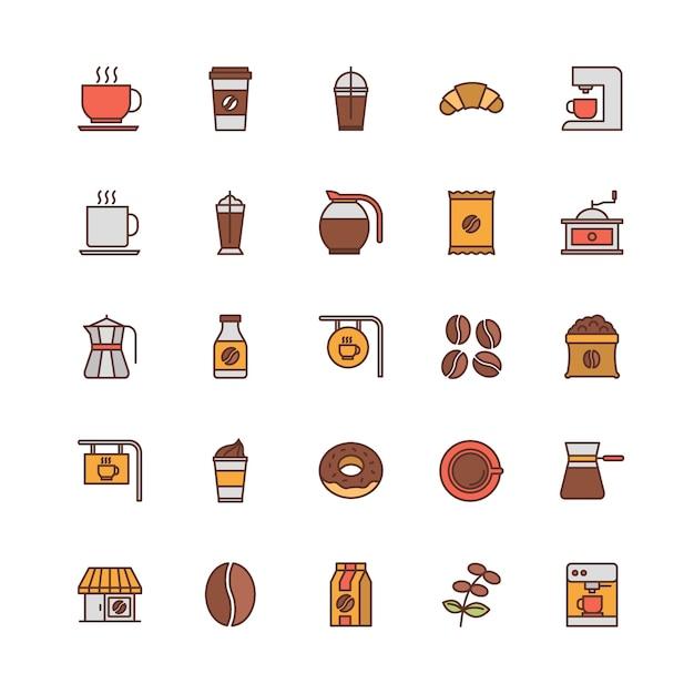 Jeu d'icônes de contour rempli de café Vecteur Premium