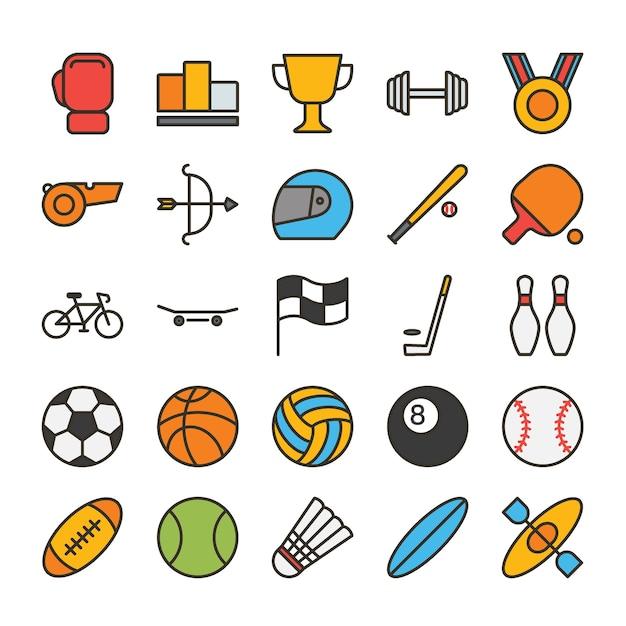 Jeu d'icônes de contour rempli de sport Vecteur Premium
