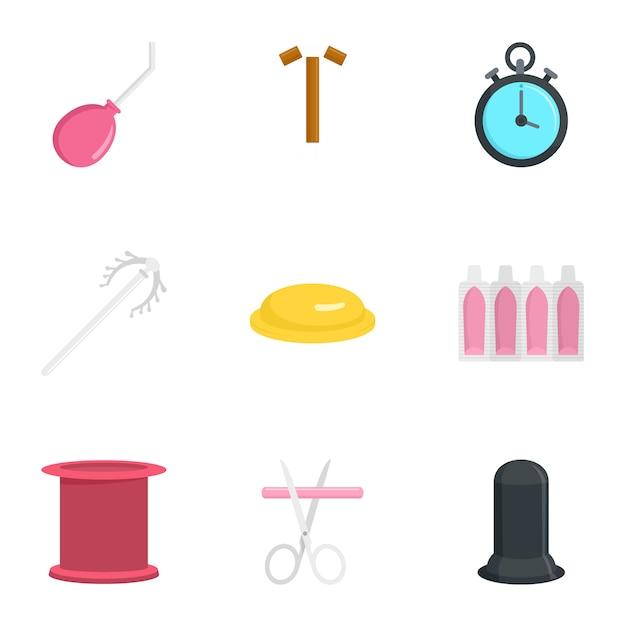 Jeu D'icônes De Contraception Moderne, Style Plat Vecteur Premium