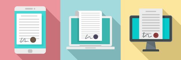 Jeu d'icônes de contrat numérique Vecteur Premium
