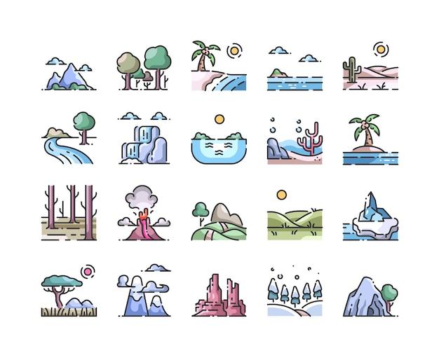 Jeu d'icônes de couleur paysage contour Vecteur Premium