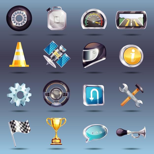 Jeu d'icônes de course automatique Vecteur gratuit