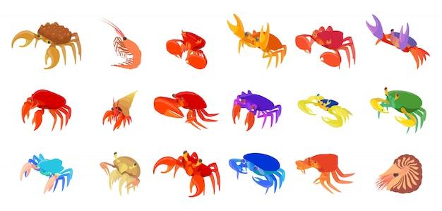 Jeu d'icônes de crabes Vecteur Premium