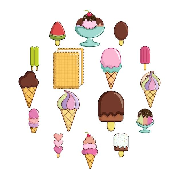 Jeu d'icônes de crème glacée douce, style cartoon Vecteur Premium