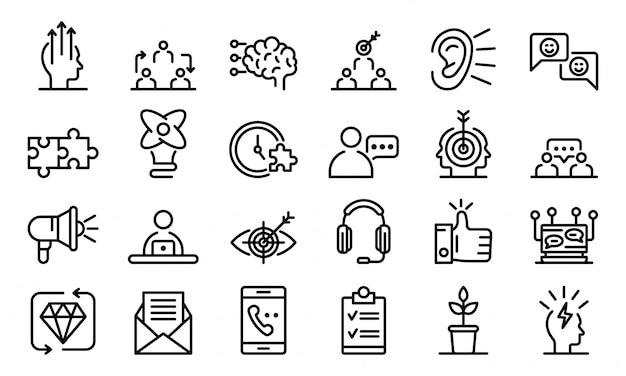 Jeu d'icônes crm, style de contour Vecteur Premium