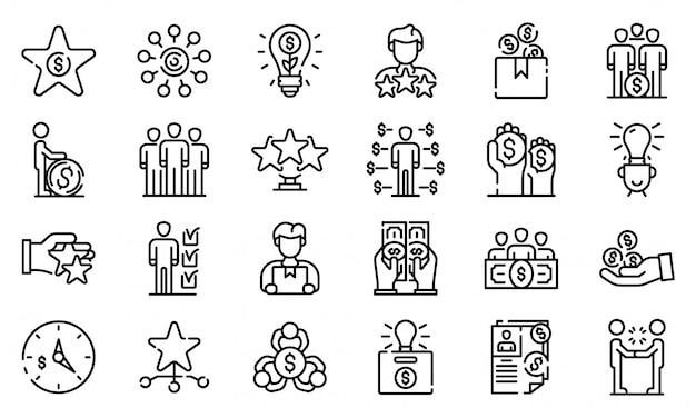 Jeu d'icônes de crowdfunding, style de contour Vecteur Premium