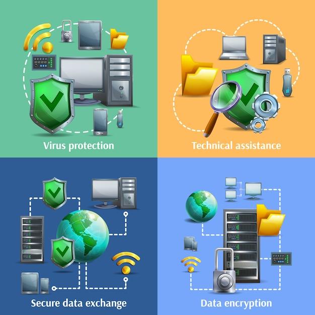 Jeu d'icônes de cryptage et de sécurité des données Vecteur gratuit
