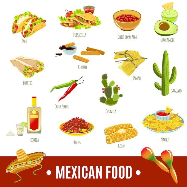 Jeu D'icônes De La Cuisine Mexicaine Vecteur gratuit