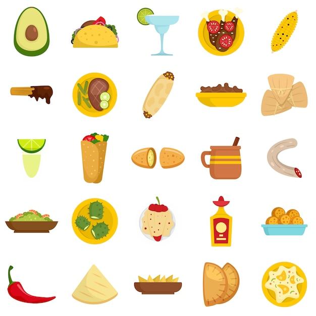 Jeu d'icônes de la cuisine mexicaine Vecteur Premium