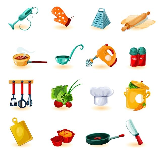 Jeu d'icônes de cuisine Vecteur gratuit