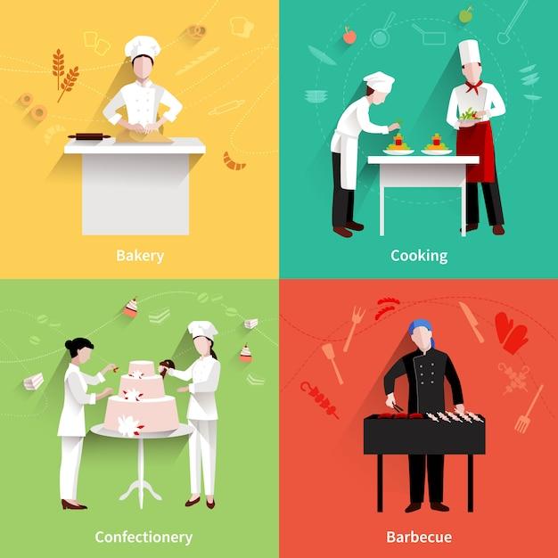 Jeu d'icônes de cuisine Vecteur Premium