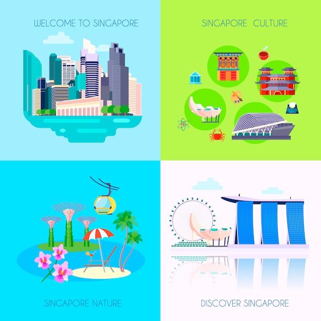 Jeu d'icônes de culture singapour plat quatre carrés Vecteur gratuit