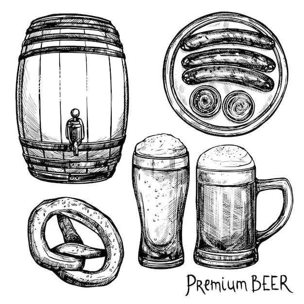 Jeu d'icônes décoratives de croquis de bière Vecteur gratuit