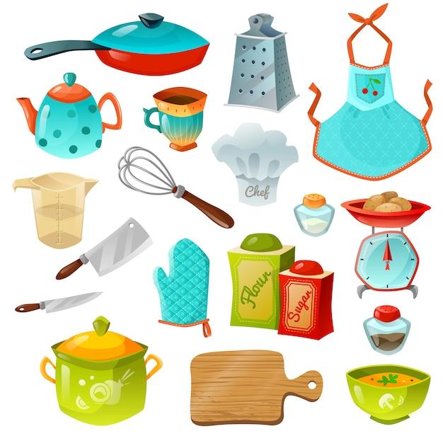 Jeu d'icônes décoratives de cuisine Vecteur gratuit