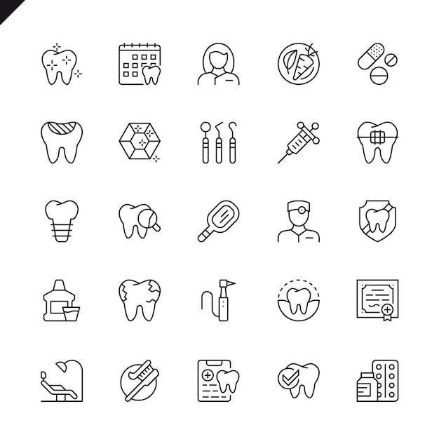 Jeu d'icônes dentaires en ligne mince Vecteur Premium