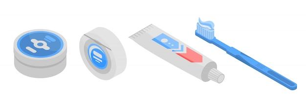 Jeu d'icônes de dentifrice, style isométrique Vecteur Premium
