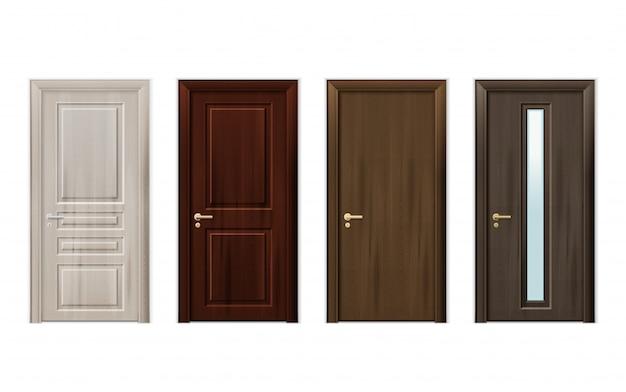 Jeu d'icônes design portes en bois Vecteur gratuit