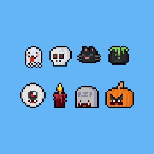 Jeu Dicônes De Dessin Animé Halloween Mignon Pixel Art
