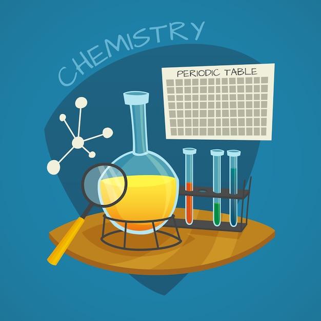 Jeu d'icônes de dessin animé laboratoire chimique Vecteur gratuit