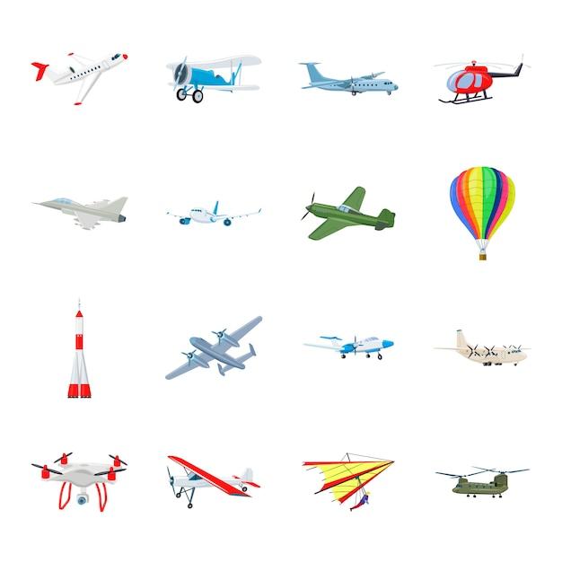 Jeu d'icônes de dessin animé de transport aérien, avion. Vecteur Premium