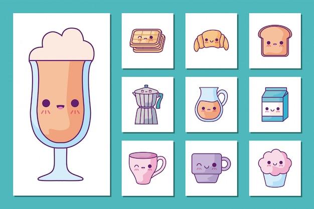 Jeu D'icônes De Dessins Animés Petit Déjeuner Et Nourriture Vecteur Premium