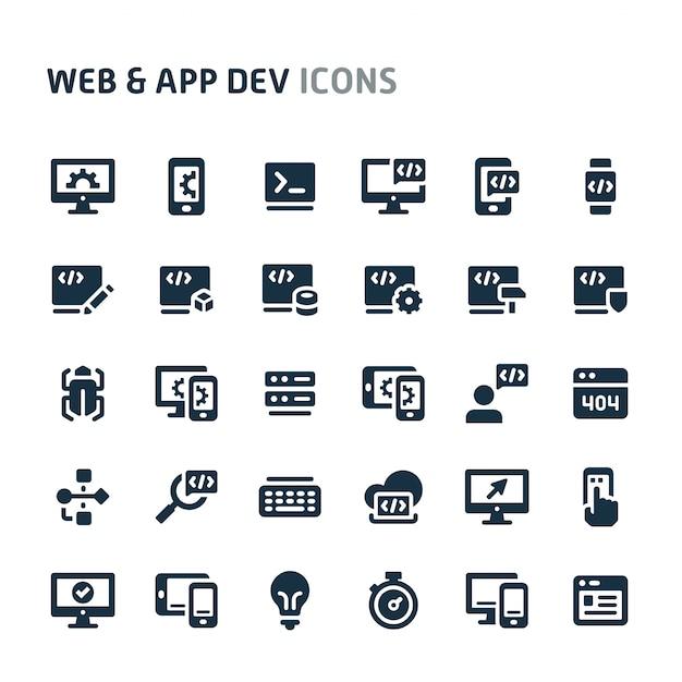 Jeu D'icônes De Développement De Sites Web Et D'applications. Série D'icônes Fillio Black. Vecteur Premium
