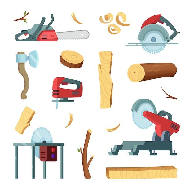 Jeu d'icônes de différents outils de production de l'industrie du bois Vecteur Premium